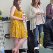 Hannah McGee (left) and Dr. Charlotte Rich look on as author readings begin.