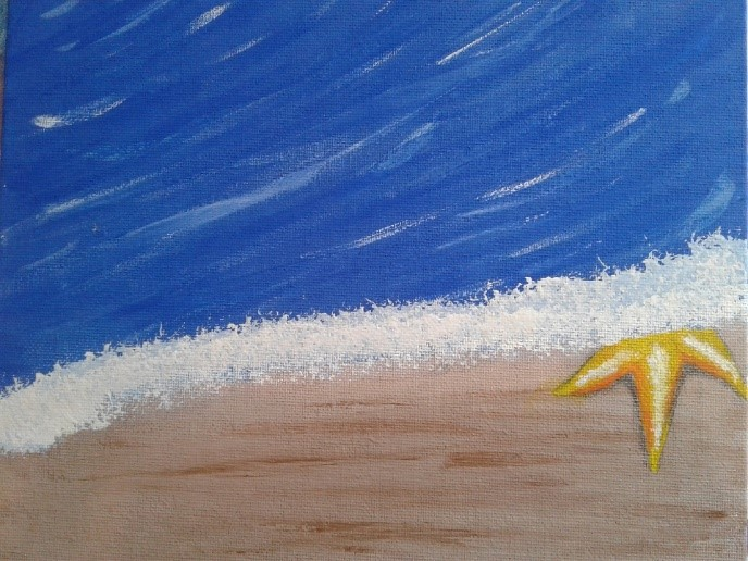 Shelbi's painting of an ocean shore with a starfish in the surf